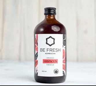 Be Fresh Organic Kombucha, Hibiscus – 500 ML – 16/cs